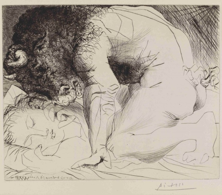 Picasso-Minotaur-kneeling-over-sleeping-girl-etching